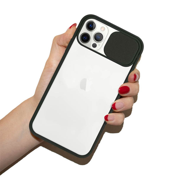 Black sliding camera cover phone case