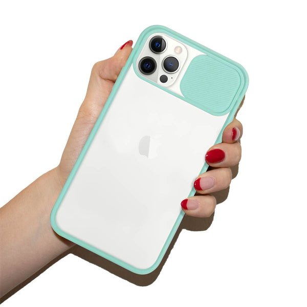 Cool mint iPhone case with sliding camera lens cover