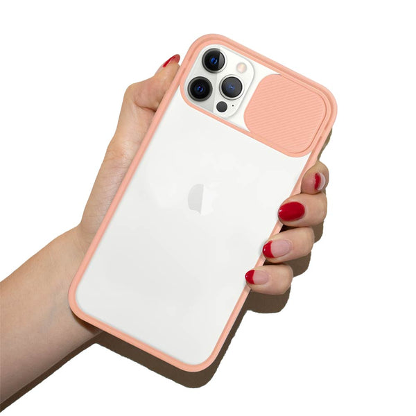 Pink sliding lens cover iPhone case