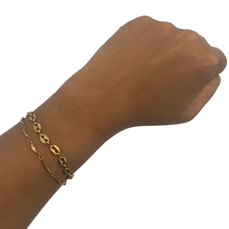 Mix and match gold chain bracelets