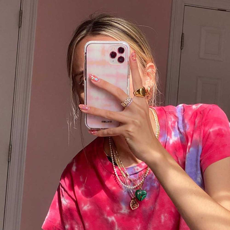 pastel pink orange tie dye iphone case