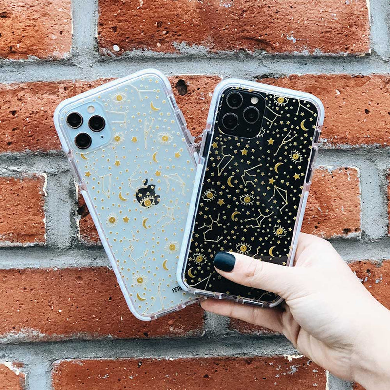 gold stars clear phone case