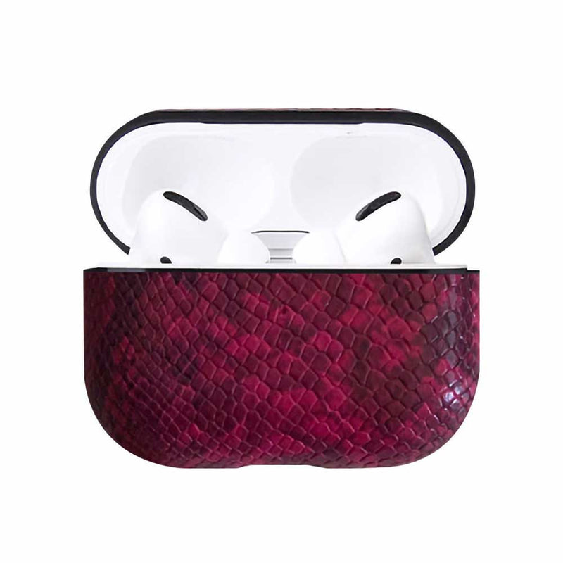 Pink snake skin vegan leather airpod pro case