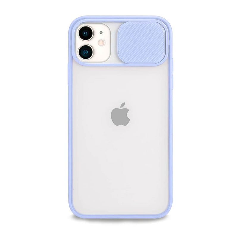 Light purple iPhone case with sliding camera cover