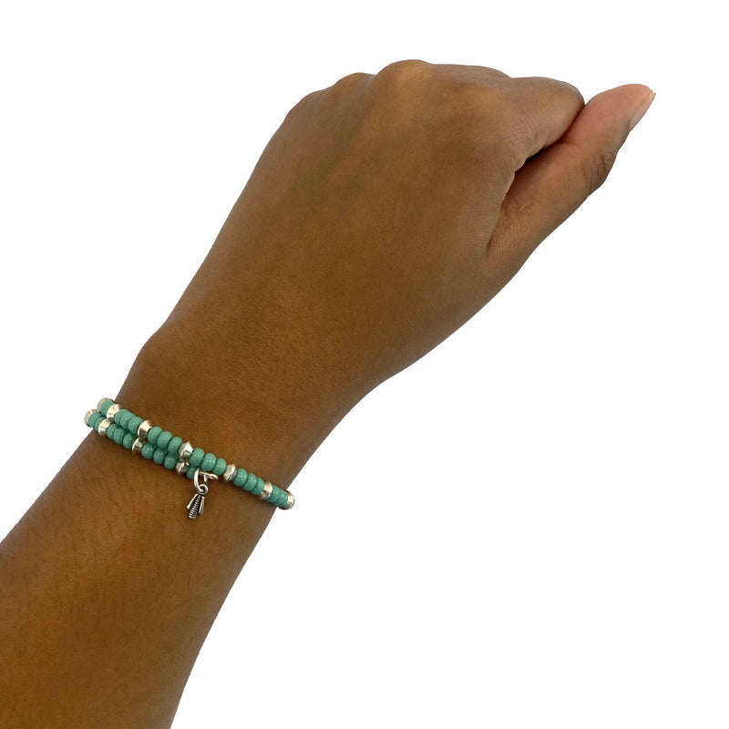Teal and silver wrap bracelet