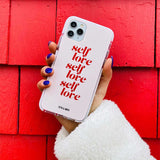 pink and red self love iphone case