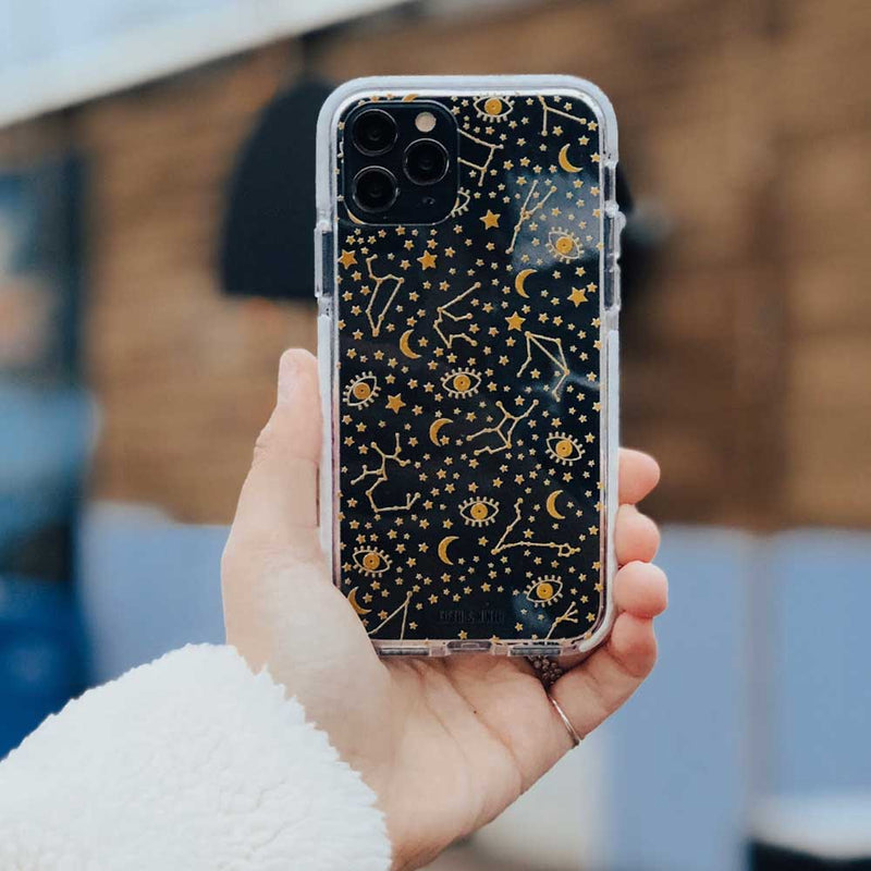 transparent phone case with gold stars