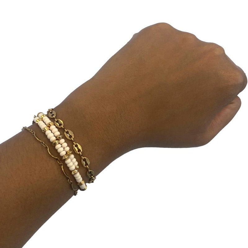 Mix and match gold bracelets