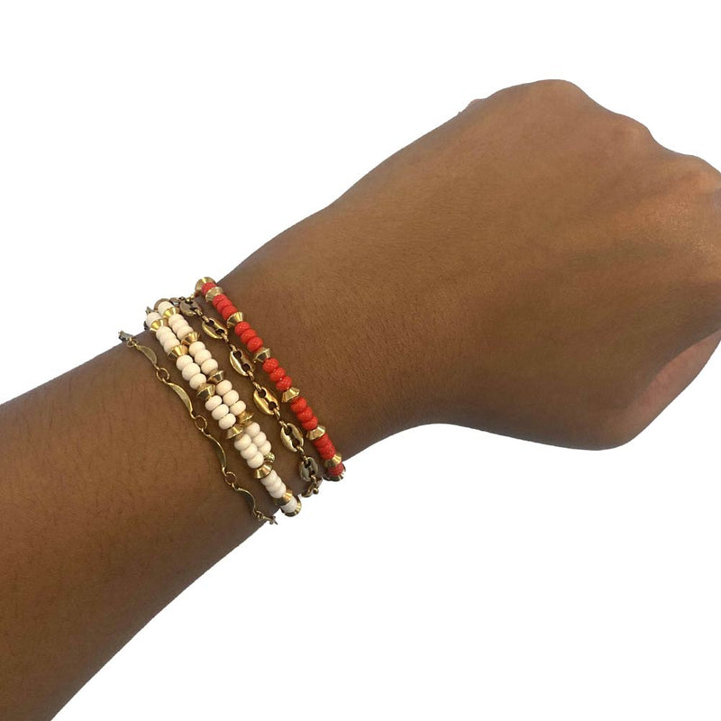 Gold chain bracelets and wrap bracelets