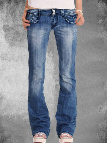 Polyester Damen Slim Mid-Rise Bootcut Jeans