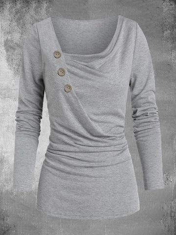 Solide Paneled Langarm Einfaches Damen T-Shirt