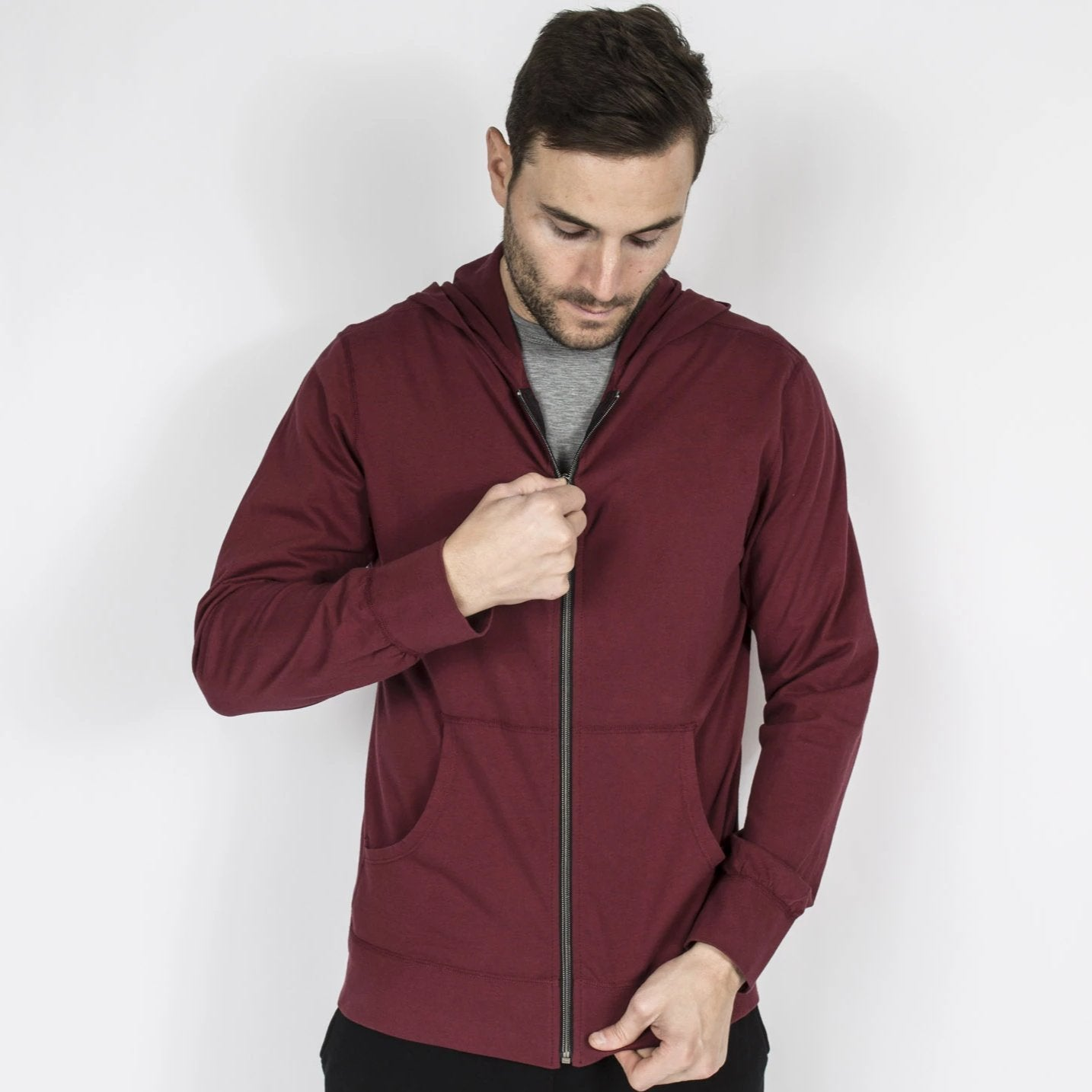 Lightweight Cotton Zip Hoodie