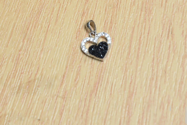 Sterling Silver Mini Black Heart Pendant