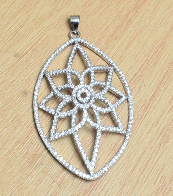 Sterling Silver CZ Oval shaped  Pendant