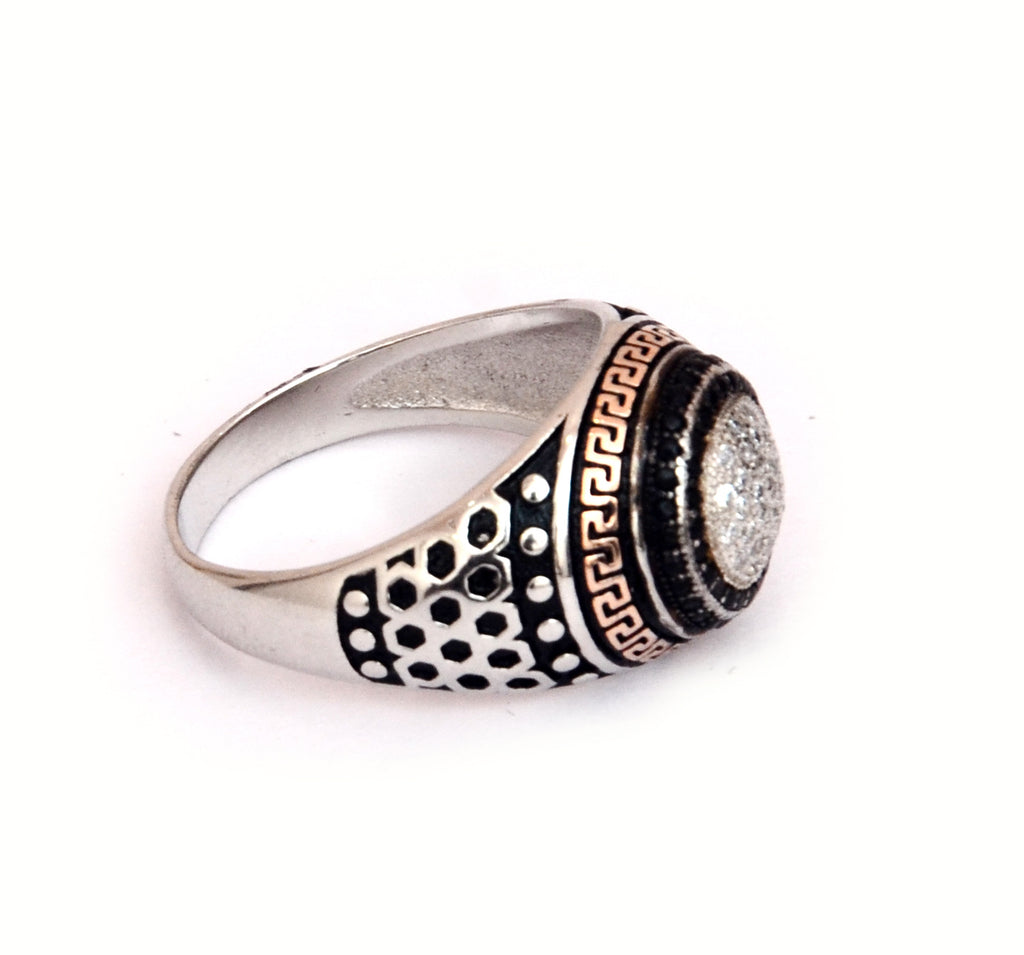 RITI- Sterling Silver Oxidised Korean micro setting Men's Ring