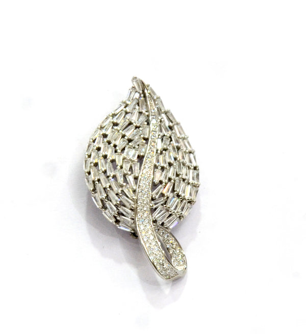 Silver  Leaf Shape CZ  Brooch