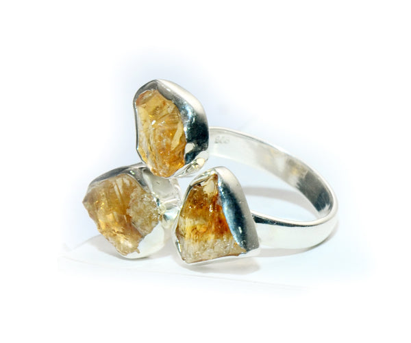Silver Amber Colour Cut stone Ring