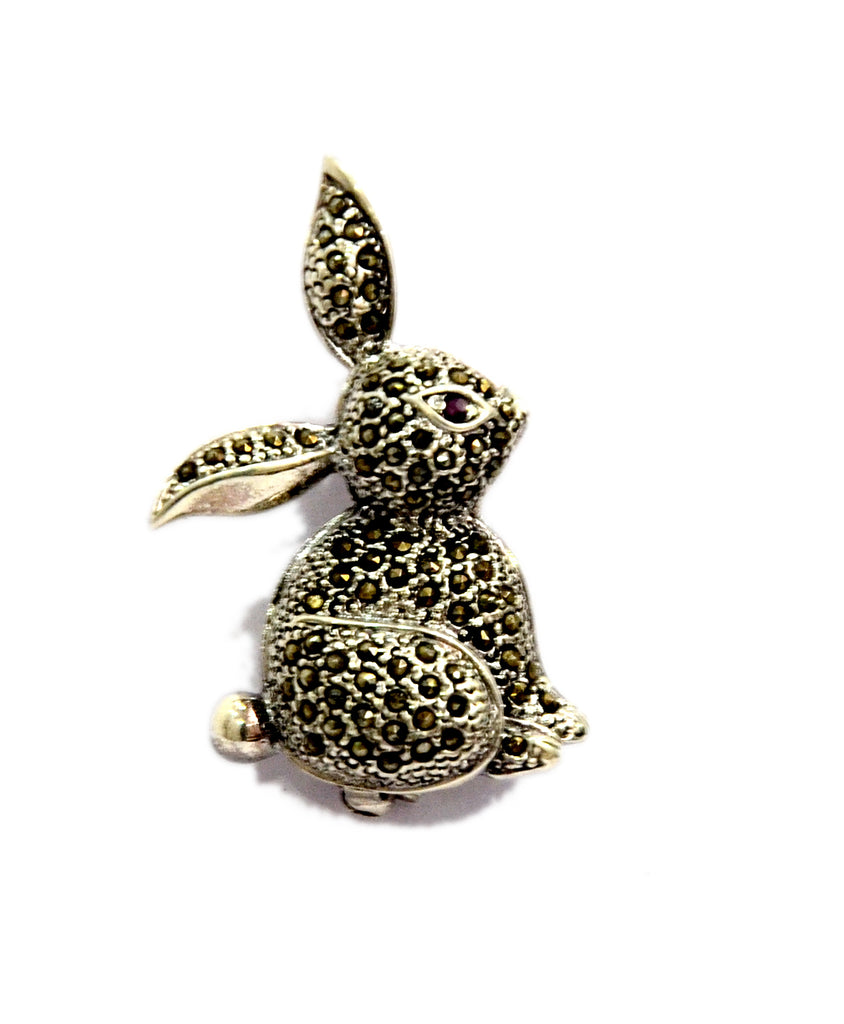 Sterling Silver Oxidised Solid Rabbit Brooch