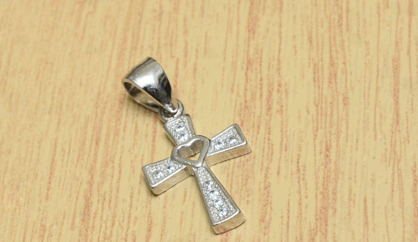 Mini Heart Silver Cross Pendant