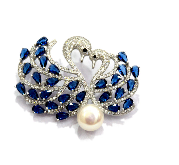 Sterling Silver Pearl Peacock Brooch