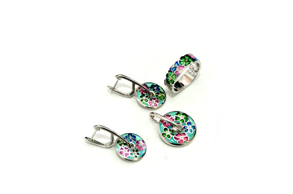 Sterling Silver Multicolour Pendant With Ring And Earring