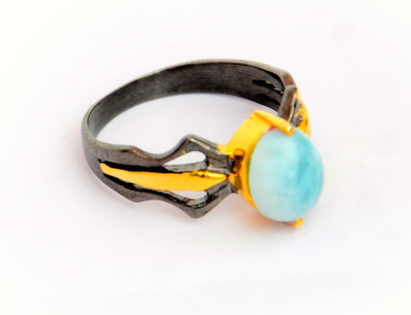 RITI- Sterling Silver Unisex Oxidised Gold Plated  Ring