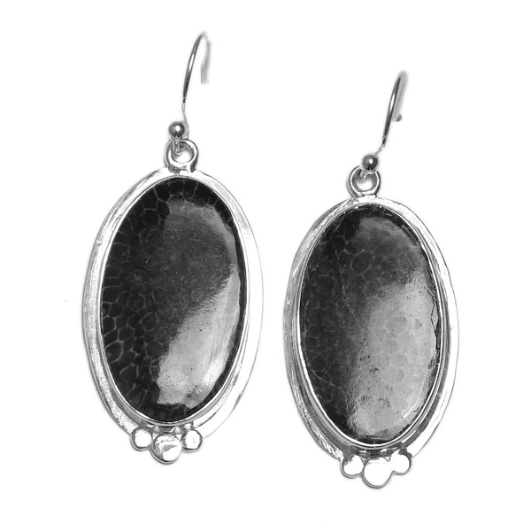 Sterling Silver Oval Shape Drop Earring