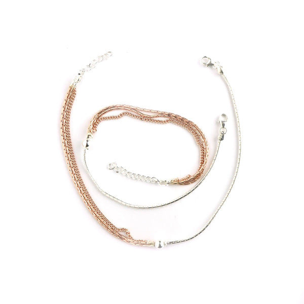 Silver Italian Charming Rose Gold Anklet