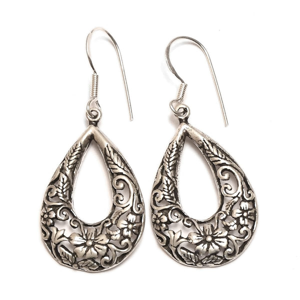 Sterling Silver Oxidised Pear Shape Earring