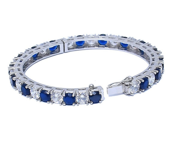 Sterling Silver CZ Sapphire Bangle