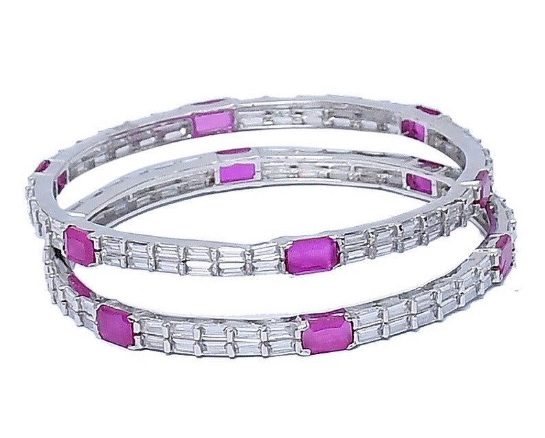 Sterling Silver Pink Stone Traditional Bangle