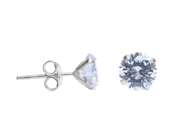 Sterling Silver CZ Round Stud Earring