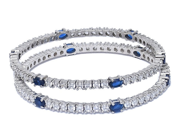 Sterling Silver Blue Sapphire Traditional Bangle