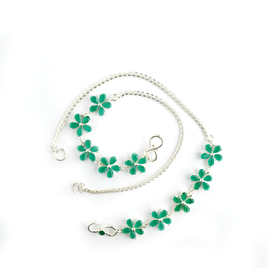 Silver Green Panther Flower Anklet
