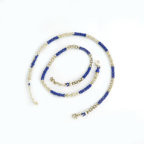 Sterling Silver Frosted Blue Anklet