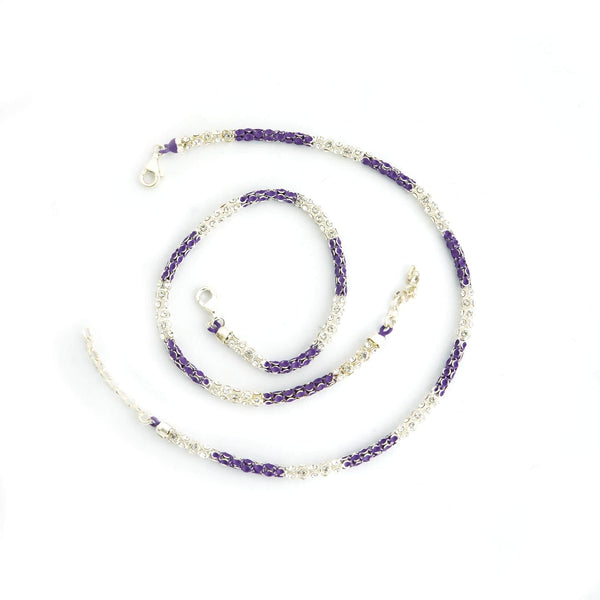 Sterling Silver Frosted Purple Anklet