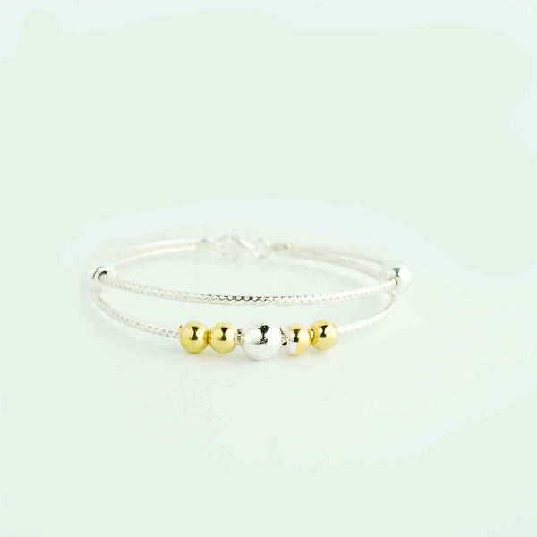 Sterling Silver Golden Beaded Bracelet