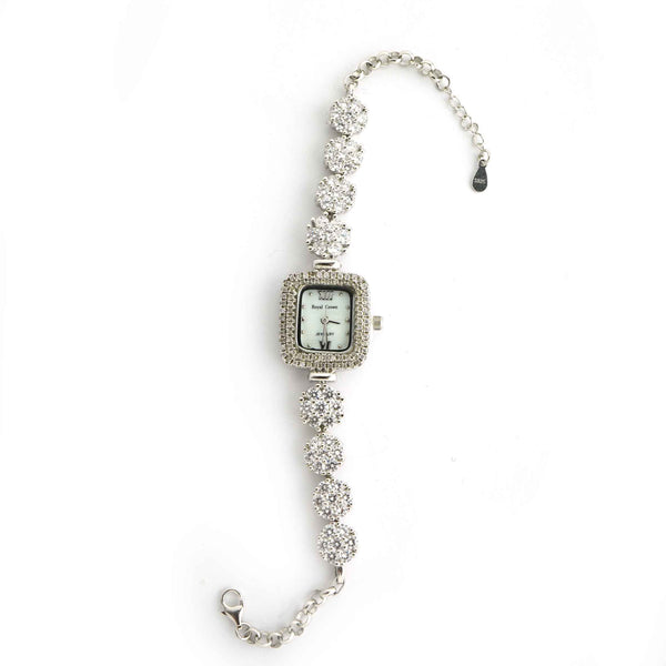 Sterling Silver Flower Square Dial Watch