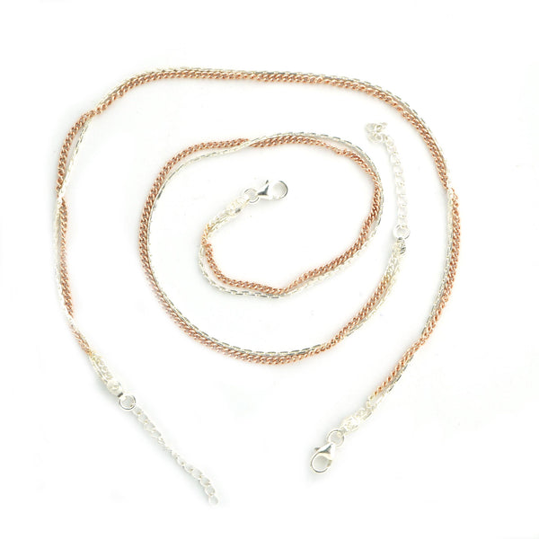 Sterling Silver Rose Gold Chain Anklet