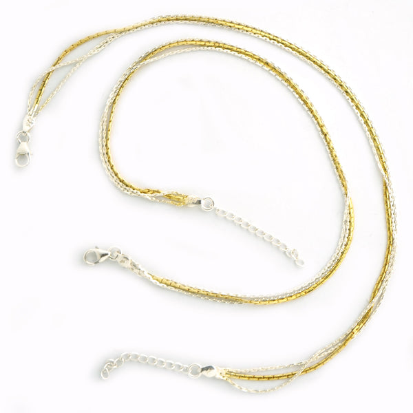 Silver Gold Plated 3 Chain Anklet