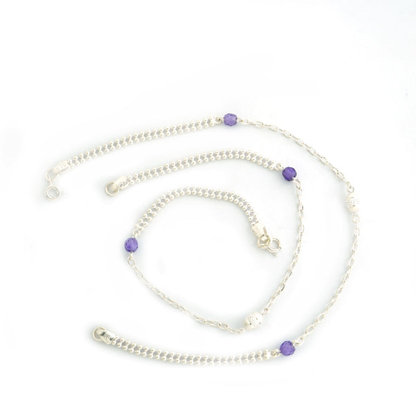 Silver Purple Stone Anklet