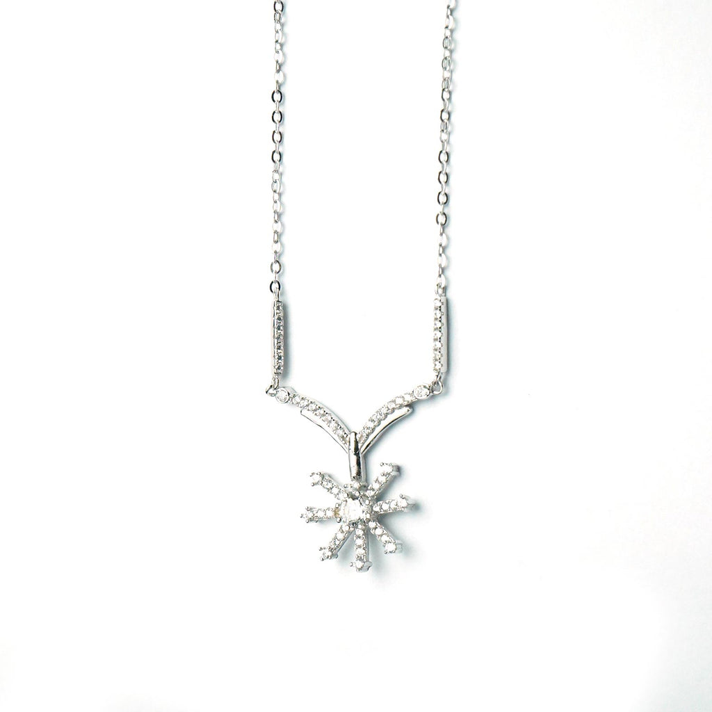Sterling Silver Flower Drop Pendant And Chain