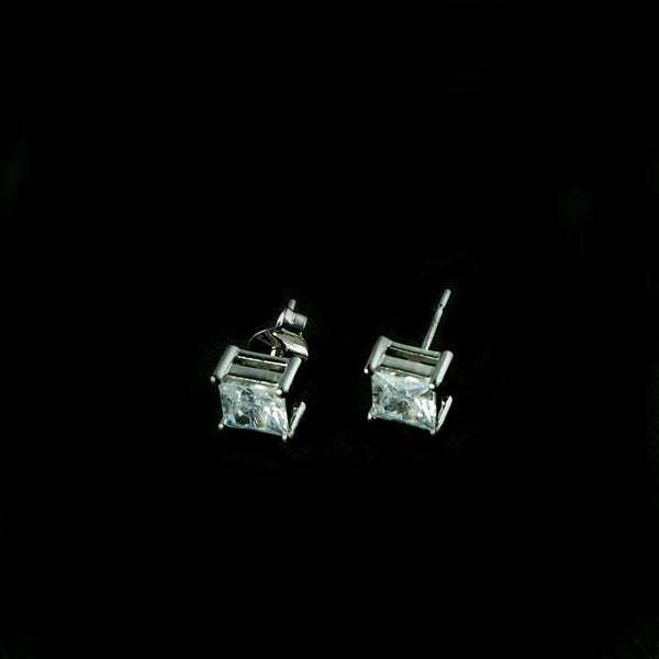 Sterling Silver Square Stone Stud