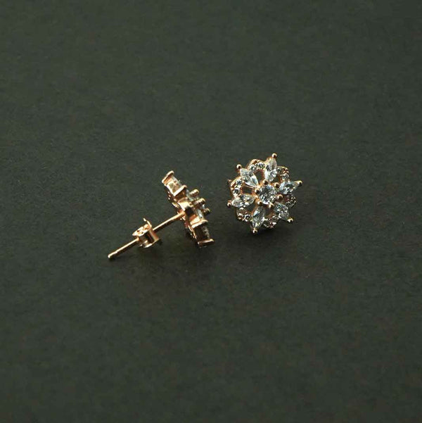Sterling Silver Rose Gold Flower Studded Studs