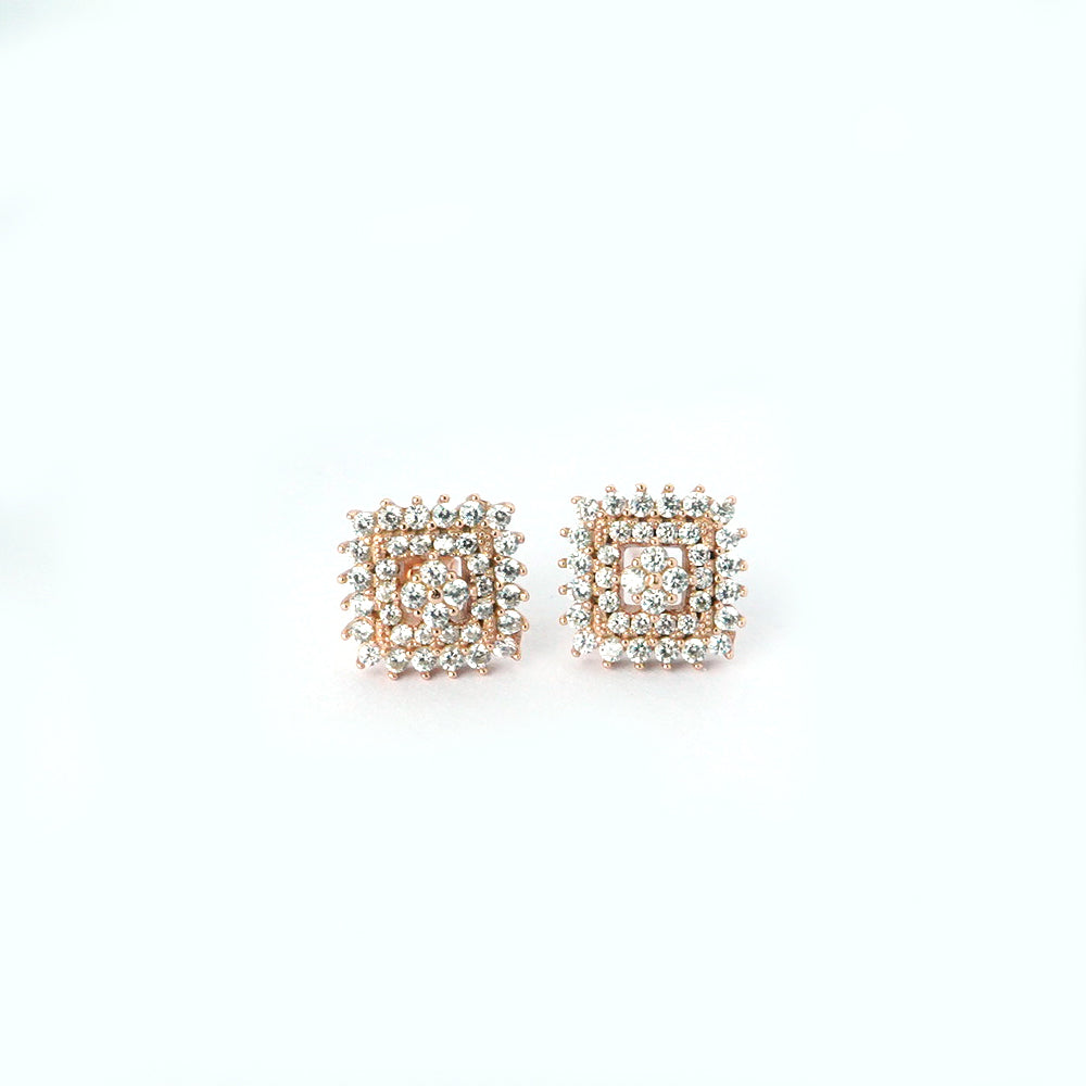 Sterling Silver Rose Gold Square Stud