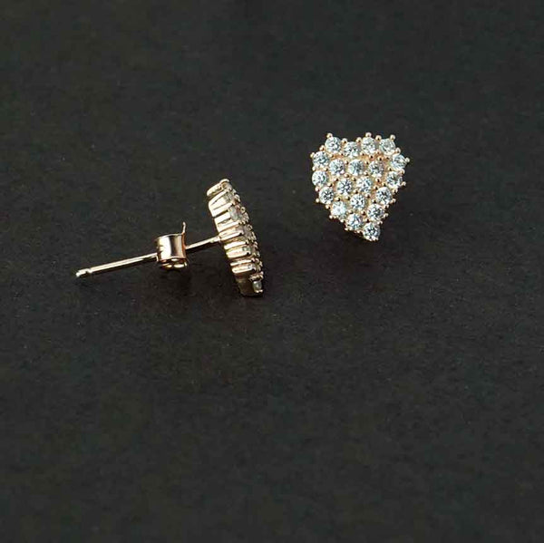 Sterling Silver Rose Gold heart Shaped Stud