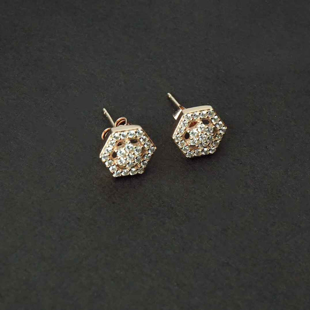 Sterling Silver Rose Gold Hexagon Shape Studs