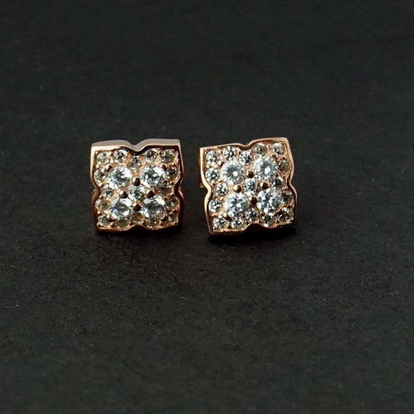 Sterling Silver Rose Gold Flower Shaped Studs