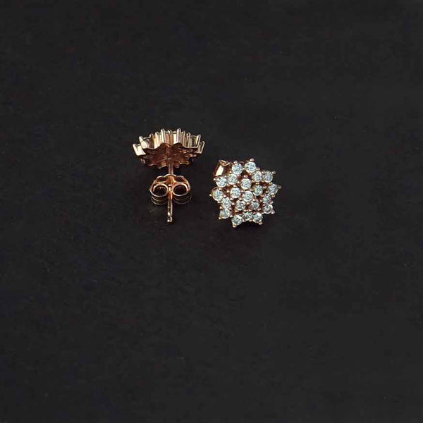 Sterling Silver Cz Flower Stud