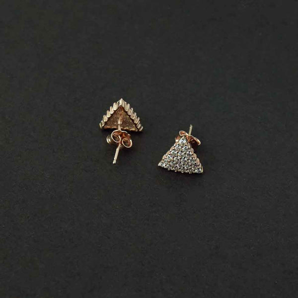 Sterling Silver Rose Gold Triangle Studs